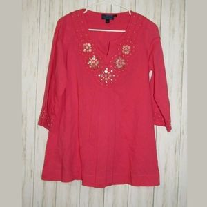 8 Boden Pink Beaded Embellished Tunic Top